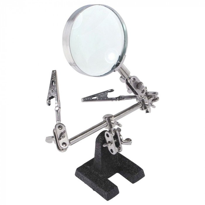 Helping hands with magnifier