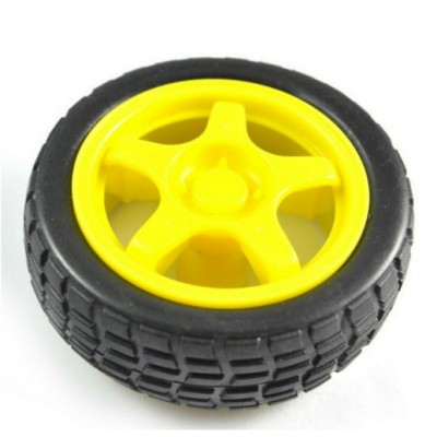 Robot wheel + rubber tire 65mm diameter