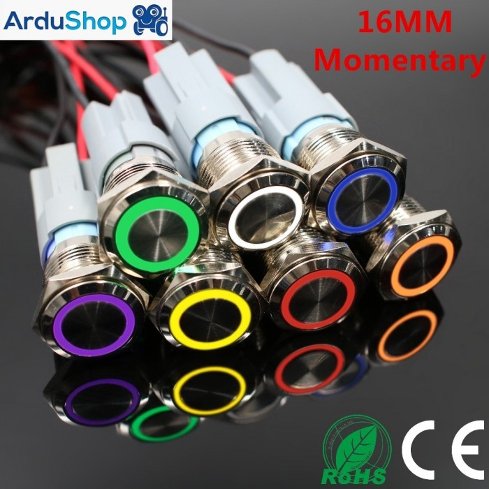 Led button 16mm momentary 5V