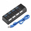 HUB USB 3.0 cu 4 porturi & switchuri - Negru