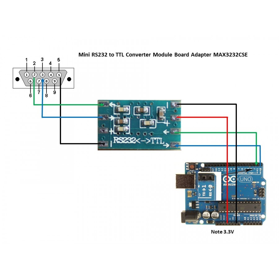 MCU mini RS232 MAX3232 level to TTL level converter board
